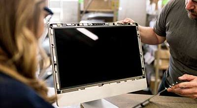 Computer monitor being taken apart