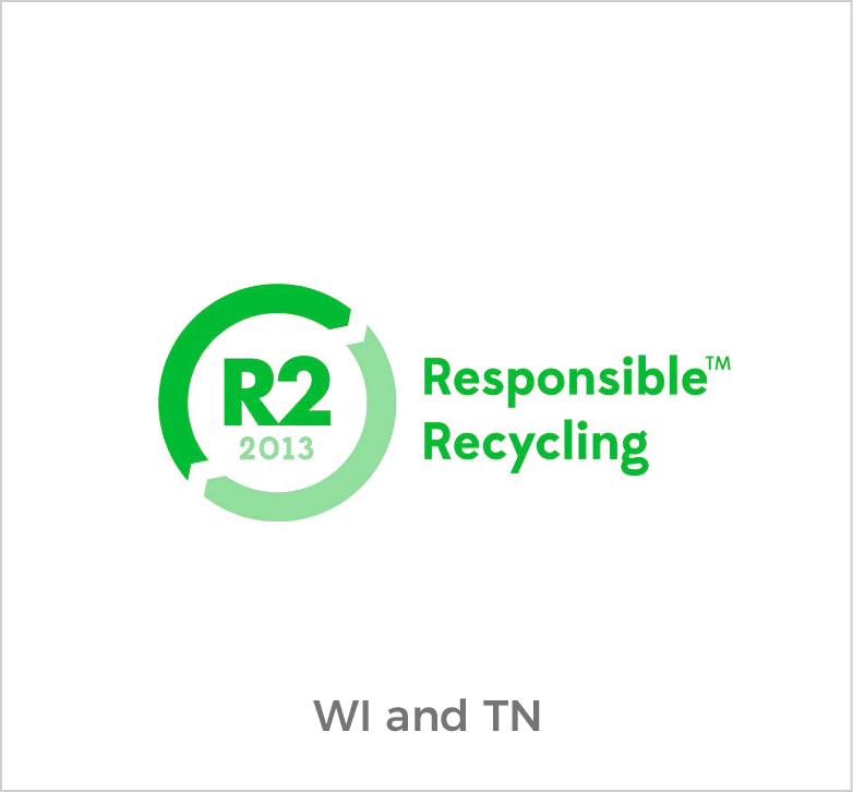 R2 Responsible Recycling Logo for Wisconsin and Tennessee